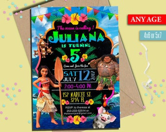 Moana Invitation, Moana Invitation, Moana summer invitation, Moana summer party, Moana Party Invite, to Any age. M005