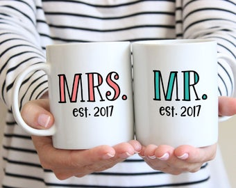Mrs. & Mr. Established Coffee Mugs- Wedding Gift - Anniversary Gift - Couple's Mugs - Wedding Gift -Bride and Groom - Engagement Gift