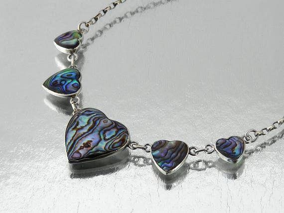 Vintage Paua & Sterling Silver Five Hearts Necklace | 925 Silver | New Zealand Paua Shell | Five Hearts Valentine's Necklace - 22 inch Chain