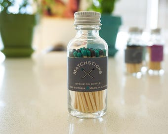 Multi-color matchstick jar - colored matches - 60 count