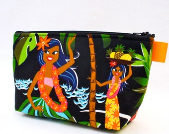 Hawaiian Hula Girls Fabric Large Cosmetic Bag Fabric Zipper Pouch Makeup Bag Cotton Zip Pouch Alexander Henry Hawaii Dancers MTO