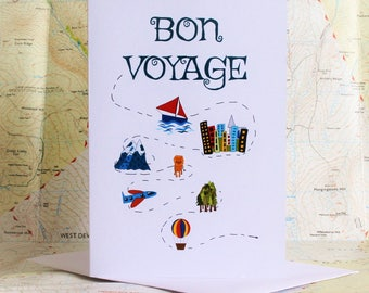 funny bon voyage card, funny travel card, gap year card, you're off card, travel card, bon voyage card, leaving card, travelling abroad card