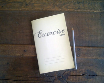 Exercise Book - Vintage Inspired - Staple Bound Up-cycled Notebook Cahier Journal