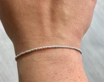 Sterling silver bracelet, sterling silver miyuki bracelet, delicate bracelet, bridesmaids gift, friendship bracelet, Dainty bracelet
