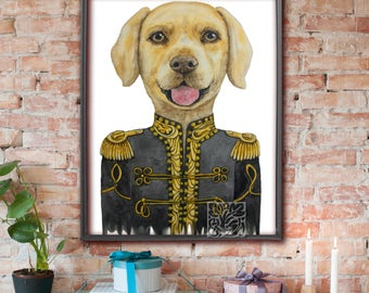 Labrador Art Print Painting in Uniform watercolour Unique and Original 8 x 10 and 12 x 16 inch by Monica La Tanya