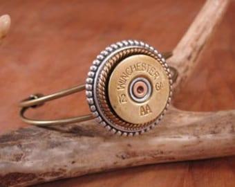 Bullet Jewelry - Shotgun Casing Jewelry - 12 Gauge Brass Wire Cuff Bracelet - Gun Jewelry - Rustic Style, Bullet Jewelry