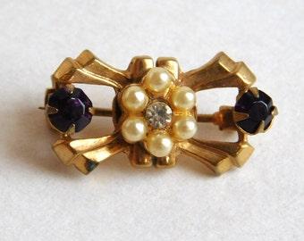 Vintage Art Deco Rhinestone and Faux Pearl Bow Brooch - Tiny Goldtone Geometric Brooch - Faux Amethyst - 1930s-1940s - Geometric Pin -