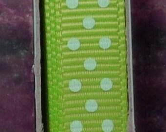 "2 Yards 3/8"" Swiss Dots - New Apple Green with White Swiss Grosgrain Print Ribbon"