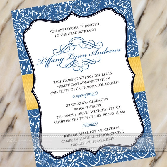 graduation announcements, graduation invitations, royal blue graduation invitation, college graduation, summa cum laude graduation, IN384