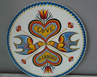 Fancy Pennsylvania Dutch marriage and love hex sign / circular wooden plaque with doves, heart / happiness, love hex sign / folk art