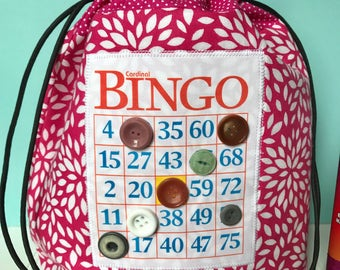 Bingo Bag - Pink Drawstring Bag - Knitting Project Bag - Mother's Day Gift - Bingo Gift - Bingo Dauber Bag - Wristlet