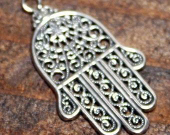 Hamsa Hand Charm Hamsa Pendant Sterling Silver