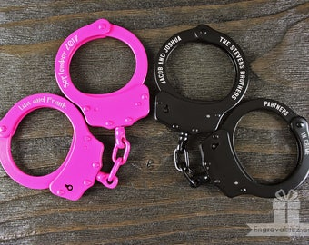 Custom Engraved Handcuffs - Locked in Love