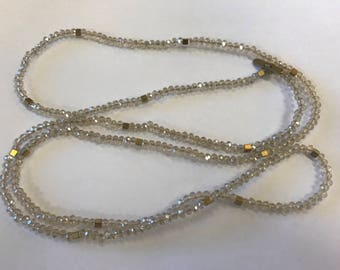 """Beaded necklace, 4mm rondelle crystaleads, with hematite accents, around 36"""", 1 necklace, champagne"""