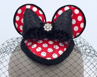 Minnie Mouse Inspired Ears Red Polka Dot Fascinator- with Optional Black Birdcage Veil