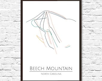 Ski Map, Ski Art, Beech Mountain NC, Trail Map, Beech Mountain, Slope Map