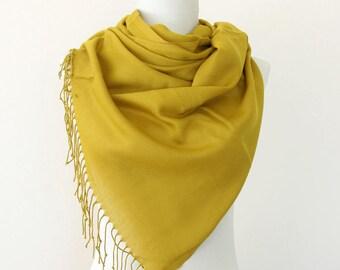Goldenrod pashmina scarf dark mustard shawl bridesmaids gift wedding pashmina bridal shawl keepsake gift for her bridesmaids wrap