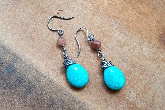 Sterling Silver Brown Jasper & Turquoise Earrings- Boho Chic, Bohemian Earrings, Western Earrings