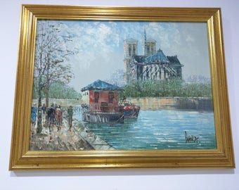 Signed Burnett. Gold framed painting of Notre-Dame Cathedral and the river Seine in Paris