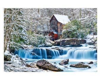 "Grist Mill Print, Waterfall, West Virginia, 16"" X 20"" Sheet"