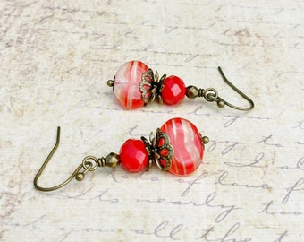 Red Earrings, Coral Earrings, Victorian Earrings, Czech Glass Beads, Vintage Look Earrings, Shabby Chic Earrings, Bright Red Earrings, Gifts
