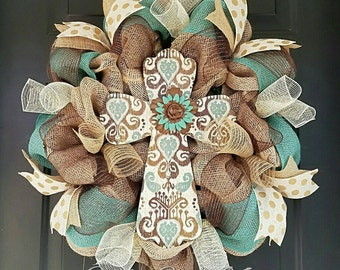 Cross Wreath; Easter Wreath; Year Round Wreath; Spring Summer Wreath