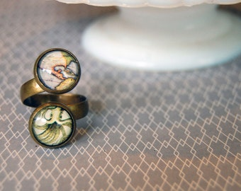 There Be Monsters - double cabochon aged brass wrap ring- adjustable- map- squid- antique