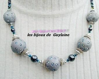 Necklace of kashmiri pearls, crystal, hematite, unique !!