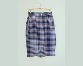 Vintage Plaid Skirt / Wool Skirt / Tartan Skirt / Midi Skirt / High Waist Skirt / Boho Skirt / Size M