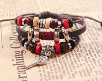 Fashion Jewelry Retro Key Pendant Infinity Leather Charm Bracelet -C50