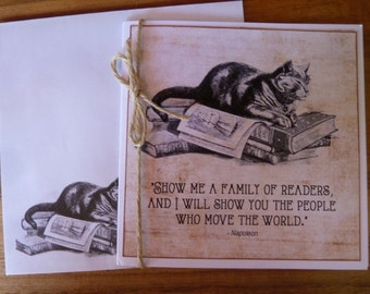 HANDMADE Greeting Card - CAT with Books Card