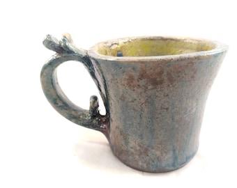 Raku pottery mug