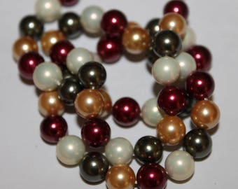 Pearls Mallorca, red, green... set of 15 8 mm