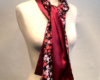 Scarf double sided black Japanese flower printed cotton and silk crepe old pink
