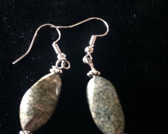 Green and silver rock earrings