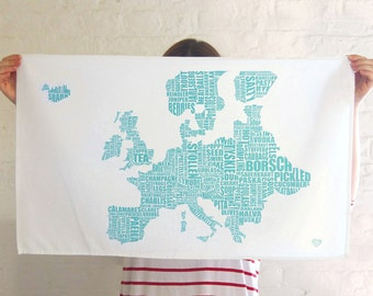 Europe Gastronomy Map Tea Towel - Gifts for foodies - kitchen gifts