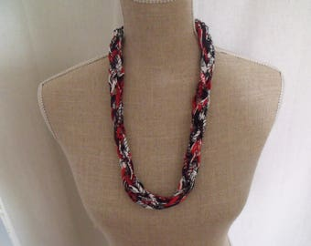CLEARANCE necklace recycled fabrics red white and black