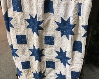 1930's LeMoyne Star Quilt Top including fabric from the 1800s off white, blue and red
