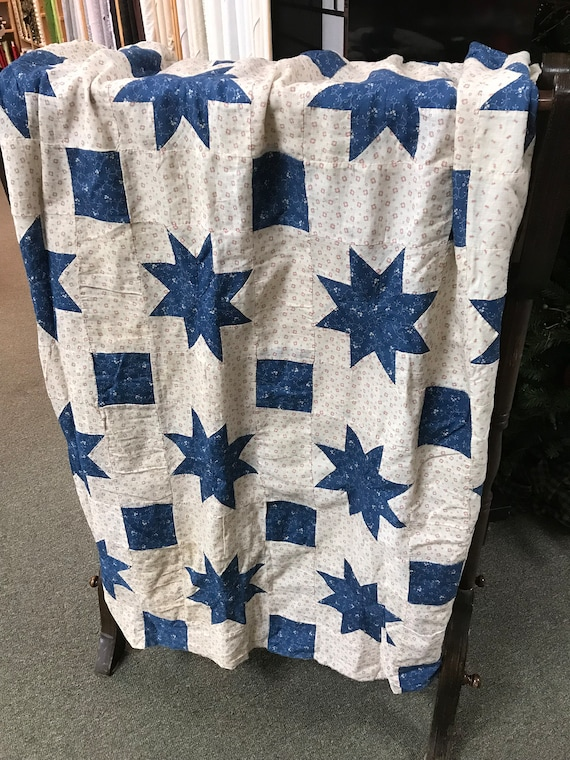 1930's LeMoyne Star Quilt Top Vintage fabric from 1800s off White, Blue and Red
