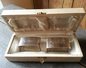 Pair of French Art Deco Silver Plated Napkin Rings Madame, Monsieur