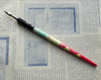 Vintage Calligraphy E.Faber Dip Pen wit Nib,Germany E.Faber 9075 Dip Pen Yellow,blue,Pink