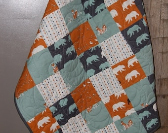 Bear Hike- Birch Organic Baby/ Toddler Quilt featuring Bears, Foxes, Quail in a Patchwork Design- READY TO SHIP!