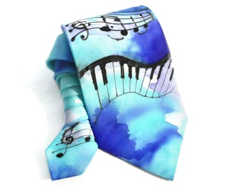Musical Notes Tie. Hand Painted Silk Tie. Gift for Him. Blue Cyan Man Tie. OOAK Silk Tie. Silk Neck Tie. Music Lovers Gift. MADEtoORDER