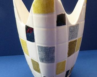 Large MIDWINTER Stylecraft Mosaic Freeform Handkerchief Vase by Jessie Tait. Stylecraft 1960s