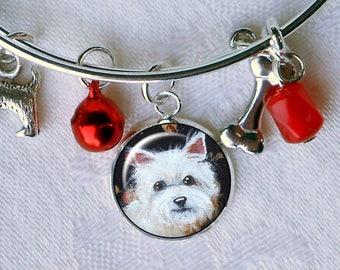 Westie Charm Bracelet ~ West Highland Terrier ~ Girlfriend Gift ~ Wire Bangle ~ April Birthday ~ Westie Jewelry