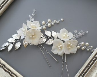 Wedding hair pin Hydrangea Bridal hair pin Flower Bridal Hair flower Bridal headpiece Pearl Flower pin Bridal Hair accessories