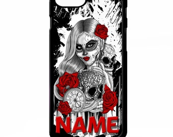 Day of the dead sugar skulls girl tattoo art personalised name cover for Samsung Galaxy S5 S6 s7 s8 plus edge note 4 5 phone case