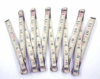 Vintage 6 ft Wooden Lufkin Ivory or White Folding Extension Ruler or Rule