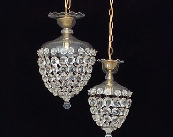 Rare pair of matching crystal bag chandeliers