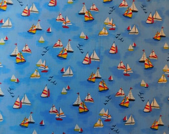 Mini Boats Fabric - 1 Yard Cut - C 4638 - Timeless Treasures Fabric -Novelty Fabric - Cotton Fabric - Quilting Fabric